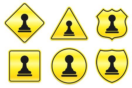 Chess Pawn Icon on Yellow Designs Original Illustration illustration