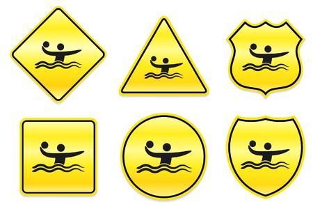 Water Polo Icon on Yellow Designs Original Illustration Stock Photo