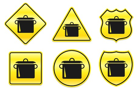 Pot Icon on Yellow Designs Original Illustration illustration