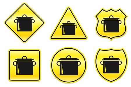 Pottenpictogram op gele ontwerpen originele illustratie Stockfoto