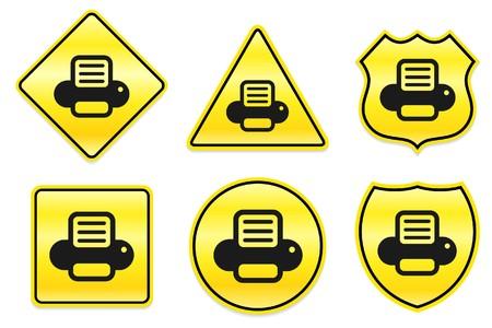 Printer Icon on Yellow Designs Original Illustration illustration
