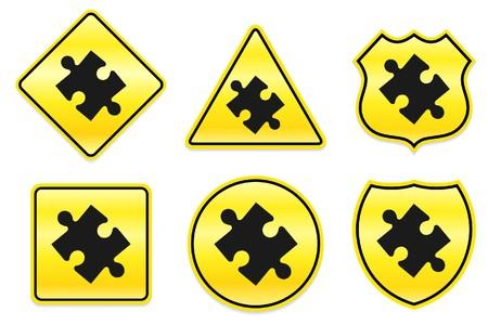 Puzzel stuk pictogram op gele ontwerpen originele illustratie Stockfoto
