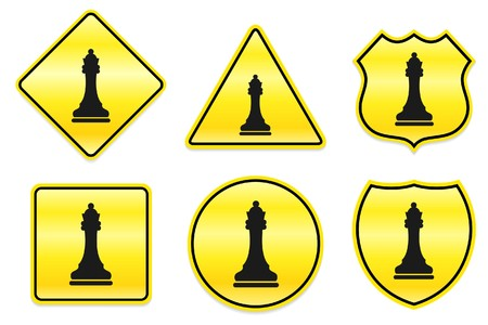 Chess koningin pictogram op Yellow Designs Originele illustratie  Stockfoto