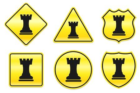 Chess Rook Icon on Yellow Designs Original Illustration illustration