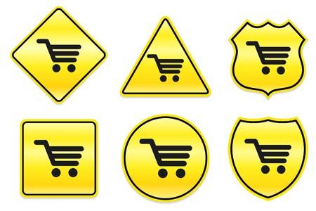Shopping Cart pictogram op gele ontwerpen Oorspronkelijke afbeelding Stockfoto