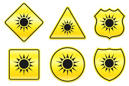 Sun Icon on Yellow Designs Original Illustration illustration