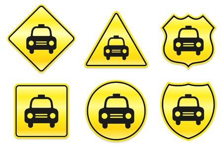 Taxi Cab Icon on Yellow Designs Original Illustration