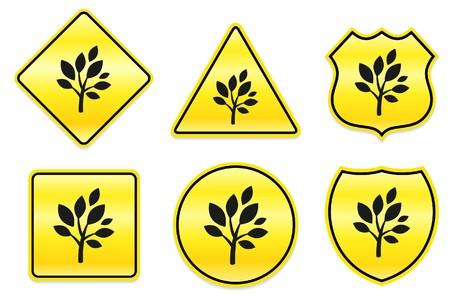 Boom pictogram op gele ontwerpen originele illustratie Stockfoto