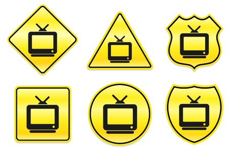 Television Icon on Yellow Designs Original Illustration illustration