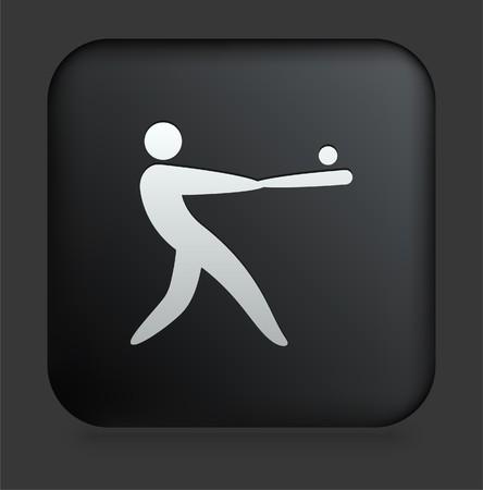 homerun: Baseball Icon on Square Black Internet Button Original Illustration