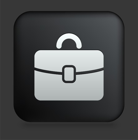 Briefcase Icon on Square Black Internet Button Original Illustration