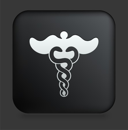 Caduceus Icon on Square Black Internet Button Original Illustration illustration