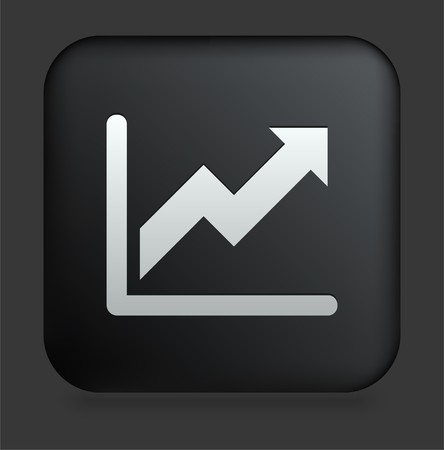 shiny buttons: Chart Icon on Square Black Internet Button Original Illustration