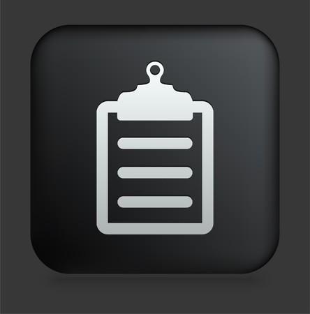 Clipboard Icon on Square Black Internet ButtonOriginal Illustration