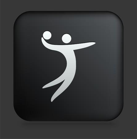 icon: Volleyball Icon on Square Black Internet Button Original Illustration