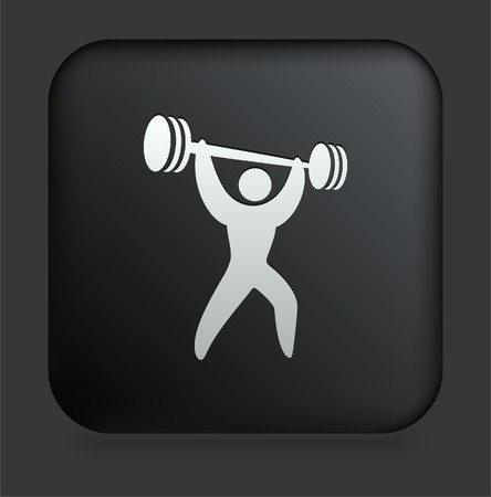 Weightlifter Icon on Square Black Internet Button Original Illustration Stock Photo