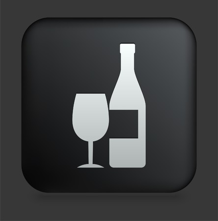 Champagne Icon on Square Black Internet Button Original Illustration illustration