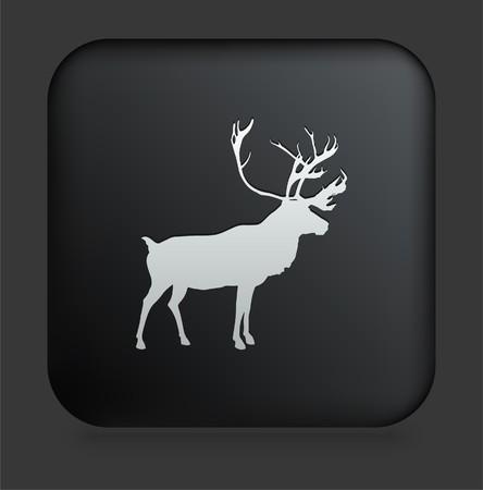 사각형 검은 인터넷 단추 원래 그림에 사슴 아이콘 스톡 콘텐츠