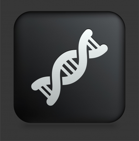 DNA Icon on Square Black Internet Button Original Illustration Stok Fotoğraf