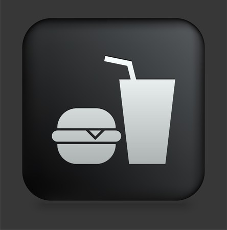 Fast Food Icon on Square Black Internet Button Original Illustration illustration