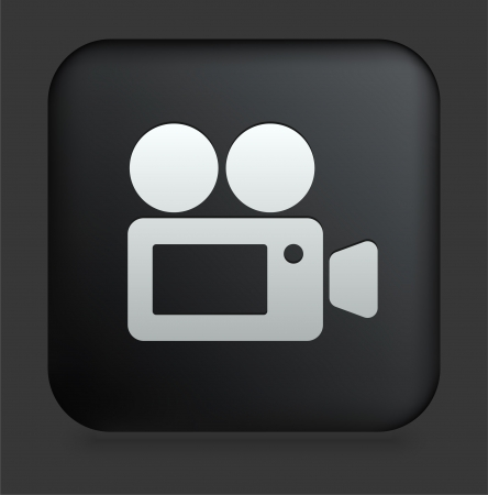 Film Camera Icon on Square Black Internet Button Original Illustration