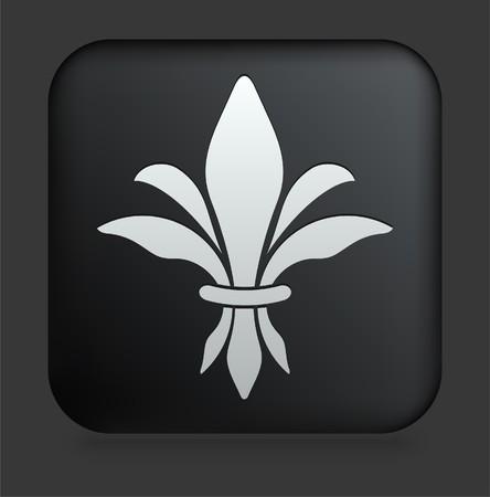 Fleur De Lis Icon on Square Black Internet Button Original Illustration Stock Photo