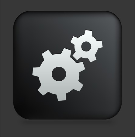 gears: Gear Icon on Square Black Internet Button Original Illustration Stock Photo