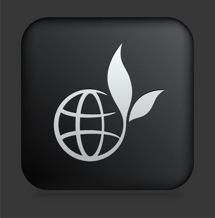 Globe Icon on Square Black Internet Button Original Illustration