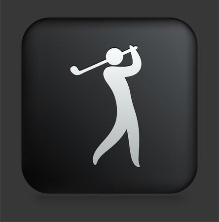 Golf Icon on Square Black Internet ButtonOriginal Illustration Standard-Bild