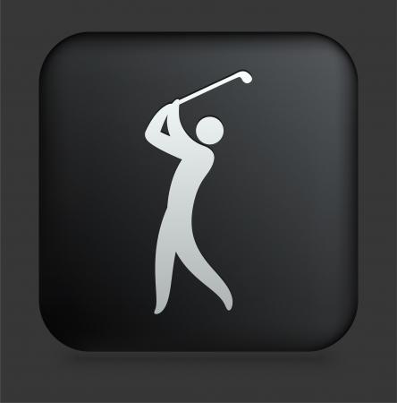 Golf Icon on Square Black Internet ButtonOriginal Illustration 写真素材