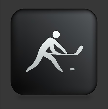 hockey stick: Hockey Icon on Square Black Internet Button Original Illustration