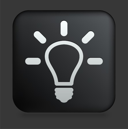 Light Bulb Icon on Square Black Internet Button