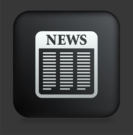 Newspaper Icon on Square Black Internet ButtonOriginal Illustration