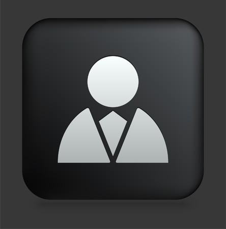 shiny black: Bussinessman Icon on Square Black Internet Button Original Illustration Stock Photo