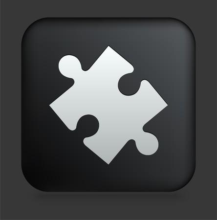 shiny black: Puzzle Piece Icon on Square Black Internet Button Original Illustration