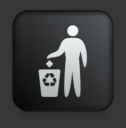 Recycle Trash Icon on Square Black Internet Button Original Illustration Stok Fotoğraf