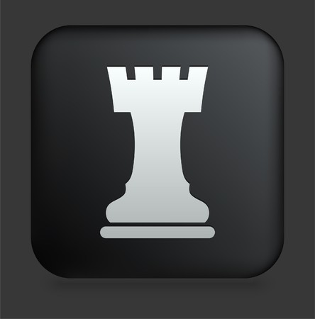 Chess Rook Icon on Square Black Internet Button Original Illustration illustration