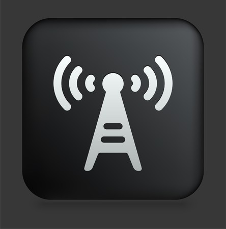 Radio Tower Icon on Square Black Internet Button Original Illustration illustration