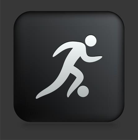 Soccer Icon on Square Black Internet ButtonOriginal Illustration