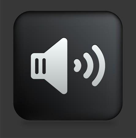 speaker: Speaker Icon on Square Black Internet Button Original Illustration