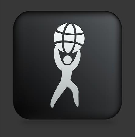 World Strength Icon on Square Black Internet ButtonOriginal Illustration