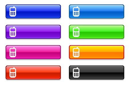 phone icon: Cell Phone Icon on Long Button Collection Original Illustration Stock Photo