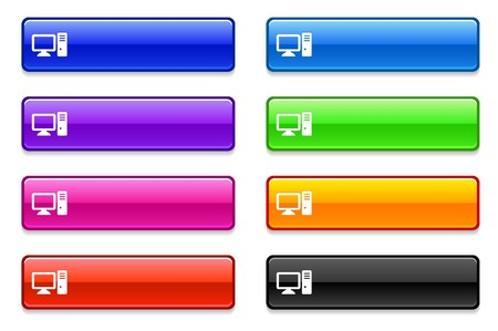Computer Desktop Icon on Long Button Collection Original Illustration illustration