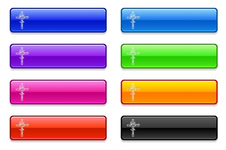 church group: Cross Icon on Long Button Collection Original Illustration