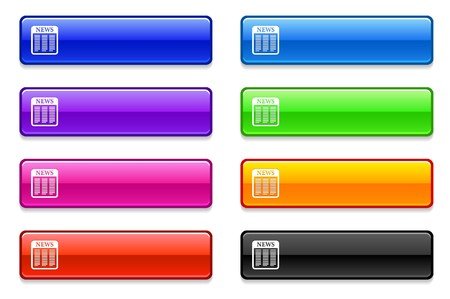 rectangle button: Newspaper Icon on Long Button Collection Original Illustration Stock Photo