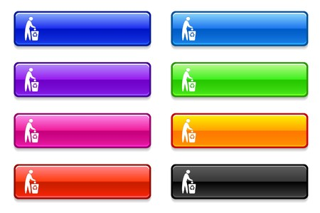 Recycle Icon on Long Button Collection Original Illustration