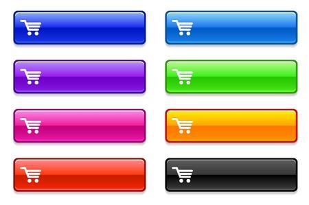 shopping cart icon: Shopping Cart Icon on Long Button Collection Original Illustration