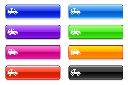 Car Icon on Long Button Collection Original Illustration illustration
