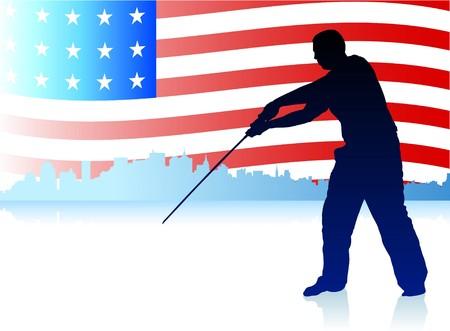 ny: Karate Sensei with Sword on Skyline and USA Flag Background Original Illustration
