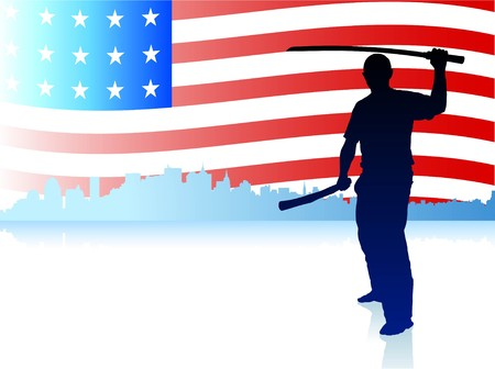 sensei: Karate Sensei with Sword on Skyline and USA Flag Background Original Illustration